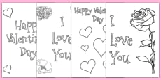 Valentine's Day Card Colouring Templates