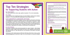 Top Ten Strategies to Support Students with Autism Adult Guidance