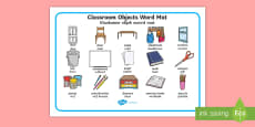 Classroom Objects Word Mat A - Afrikaans/English