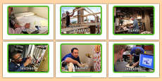 Irish Occupations The Building Site Display Photos Gaeilge