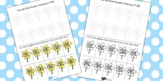 Cut and Stick Number Ordering Daffodil Activity 11-20