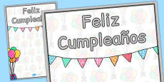 Spanish Happy Birthday Posters 2xA4