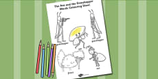 The Ant and the Grasshopper Words Colouring Sheet