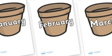 Months of the Year on Flower Pots