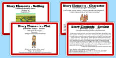 Guided Reading Skills Task Cards Story Elements Romanian Translation