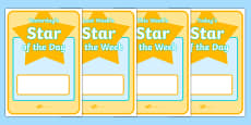 Star of the Day & Week Display Posters