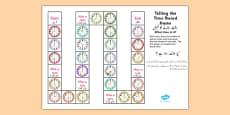 Telling The Time Board Game KS1 O'clock and Half Past Urdu Translation