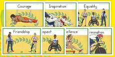 Olympics and Paralympics Values Display Posters