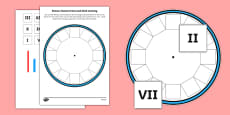Blank Roman Numerals Clock Cut and Stick Activity