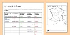 Carte de la France vierge à remplir