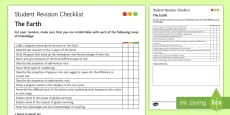 * NEW * The Earth Student Revision Checklist