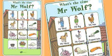 Vocabulary Poster to Support Teaching on What's The Time, Mr Wolf?