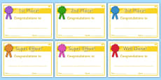 Sports Day Award Certificates