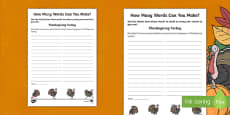 How Many Words Can You Make? Thanksgiving Activity Sheet