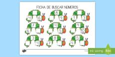 Ficha de buscar números: La pequeña oruga glotona