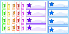 Australia - Multicoloured Drawer Peg Name Labels with Stars