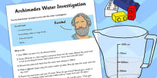 Archimedes Water Investigation Task Sheet