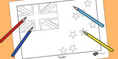 Tuvalu Flag Colouring Sheet