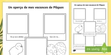 Easter Holiday Snapshots Writing Frame French