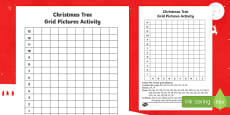 Christmas Tree Grid Picture Activity Sheet
