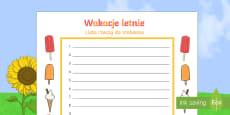 Szablon Wakacje letnie Lista rzeczy do zrobienia
