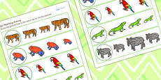 Jungle Themed Size Matching Activity Sheet