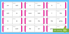 Sight Words Loop Cards - Magenta Loop Cards