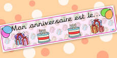 French Birthday Board Banner - display lettering