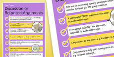 Text Types Guide Discussion or Balanced Arguments Display Poster