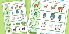 The Three Billy Goats Gruff Size Matching Worksheets
