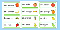 Fruit Word Cards (French)