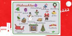 Weihnachten Wortschatz: Querformat