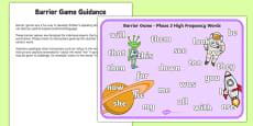 Phase 3 High Frequency Words Barrier Game Activity Sheet