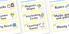 Canary Themed Editable Maths Area Resource Labels
