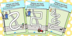 Farmer and Duck Pencil Control Maze Activity Sheets