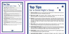 Top Tips for a Good Night's Sleep Adult