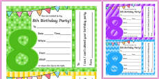 8th Birthday Party Invitations