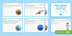 Finish the Solar System Fact Cards English/Romanian