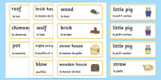 The Three Little Pigs Word Cards French Translation