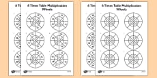 6 Times Table Multiplication Wheels Activity Sheet Pack