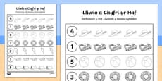 Summer Themed Count and Colour Sheet Cymraeg
