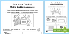 * NEW * Race to the Checkout Spatial Awareness Activity Sheet
