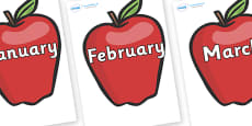 Months of the Year on Red Apples