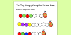 Colour Sequences Worksheet to Support Teaching on The Very Hungry Caterpillar