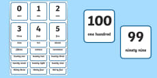Word and Number 0 100 Flash Cards
