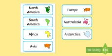 Continents Of The World Word Cards