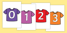 Numbers 0-31 on T-Shirts