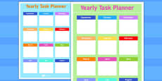 Yearly Task Planning Sheet