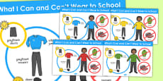 What I Can and Can't Wear to School Poster (Boys)