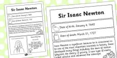 Sir Isaac Newton Significant Individual Fact Sheet